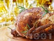 Рецепта Пълнено коледно пиле със краве, топено и крема сирене, кашкавал и хляб на фурна